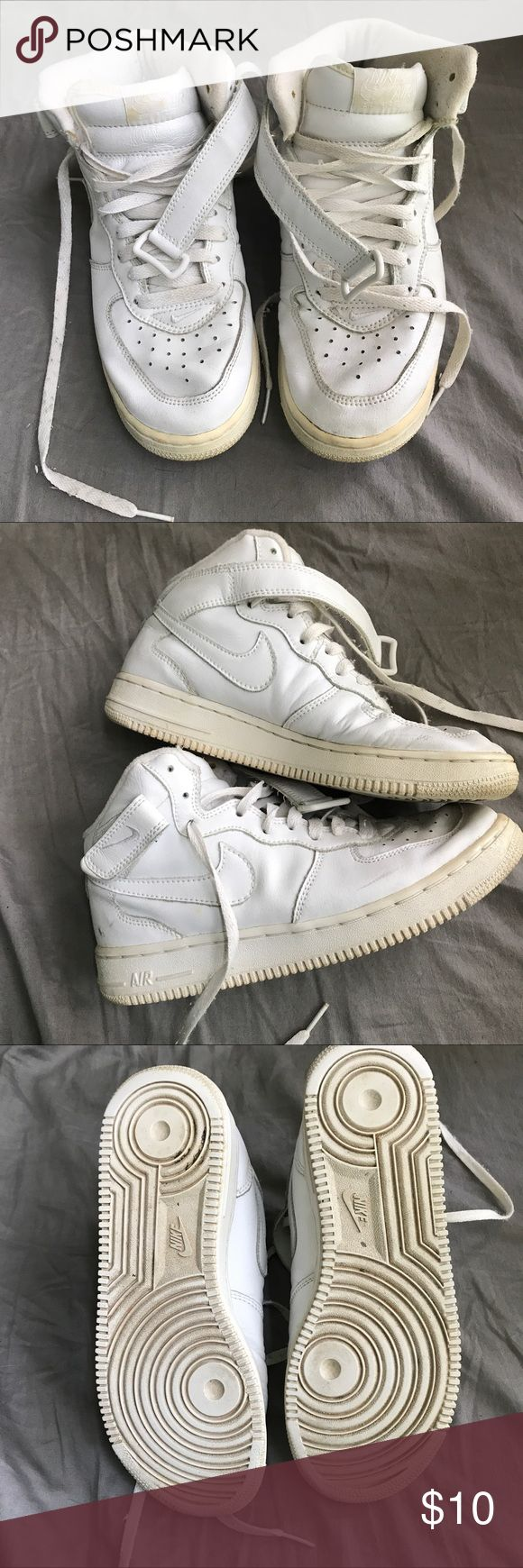 Nike Air Force 1 Mid Tops Boys 6Y. Can fit women's 7.5. Worn a lot but the soles still don't look too bad. Priced low due to beat up condition but great if you like that kind of look. Nike Shoes Sneakers