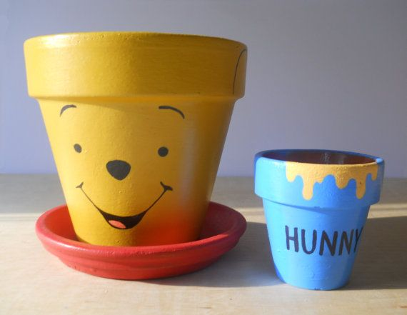 Winnie the Pooh hand painted flower pot gift set by GingerPots, $22.00