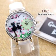 Fashion diamond watch creative DIY ladies watch cartoon cat lovers premium brand female table orz Z663(China (Mainland))
