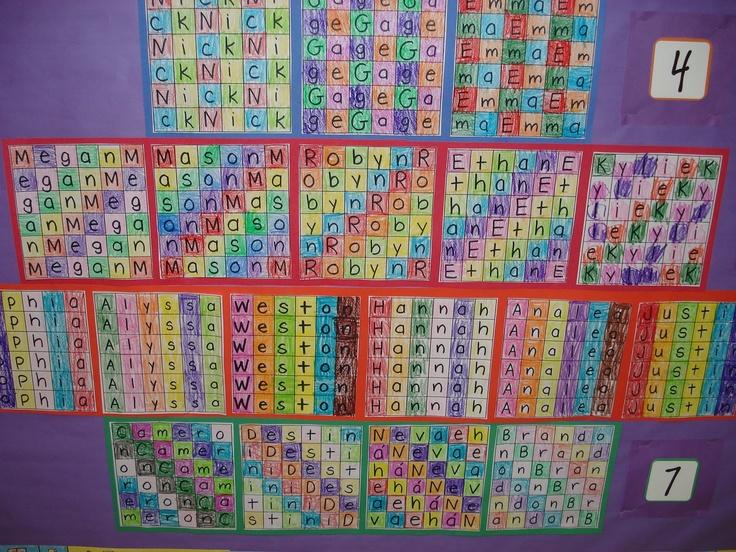 Naam in tabel van 6 bij 6 en iedere letter dezelfde kleur geven, zo ontstaat een patroon.