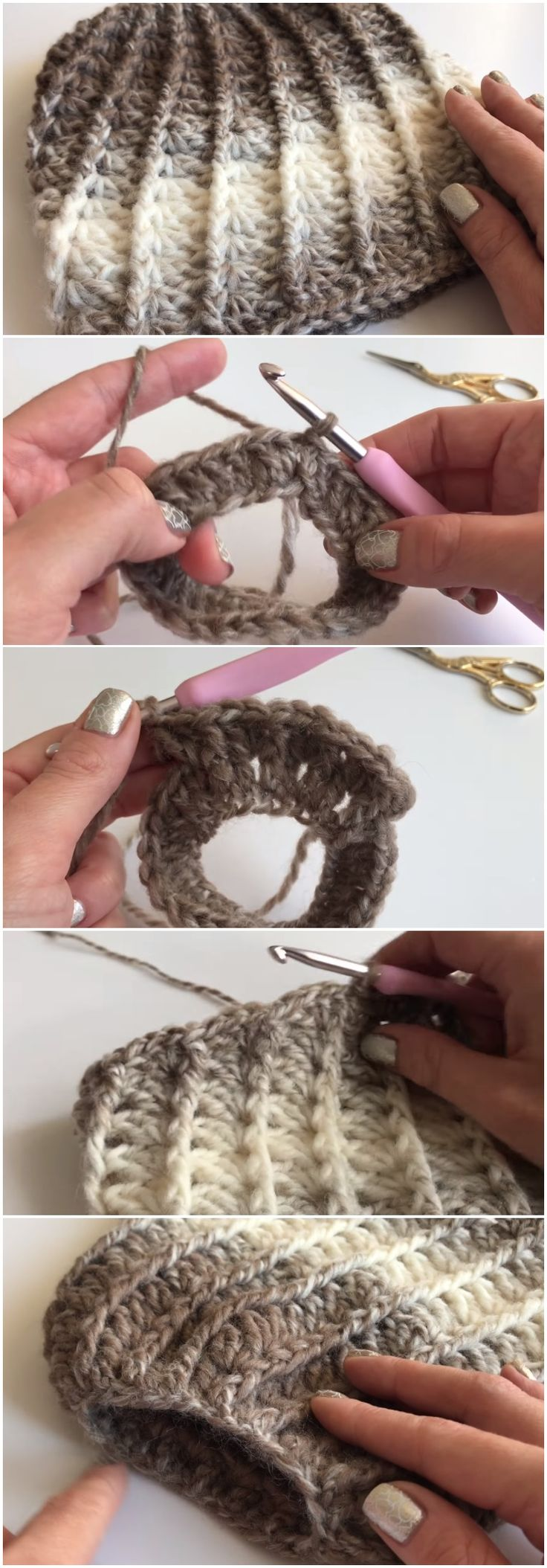 Easy To Crochet Messy Bun Beanie Hat