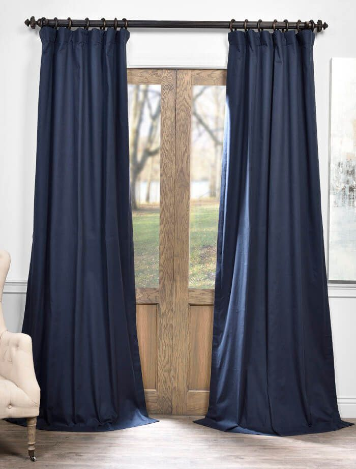 Polo Navy Solid Cotton Blackout Curtain - SKU: PRCT-BO08B at https://halfpricedrapes.com