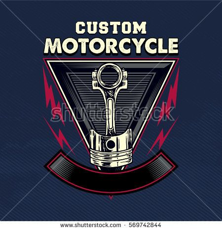 drawing piston motorcycle retro clasic