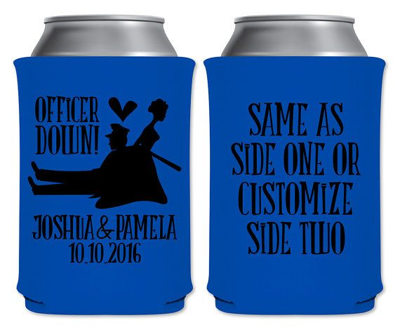 "Wedding Can Coolers Beverage Insulators Koozies Personalized Wedding Favors - Officer Down Coozies by ""ThatWedShop"" on Etsy 