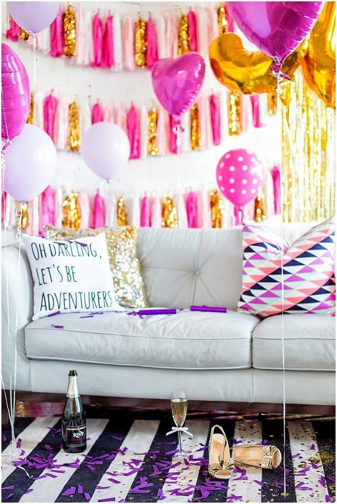 Bachelorette party decor idea - pink, white + gold tassels and balloons- perfect to decorate a hotel room {Courtesy of Mckenna Bleu}