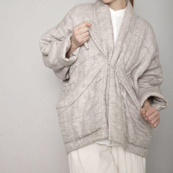 Quilted Linen Jacket - Beige - SS17 | 7115 by Szeki