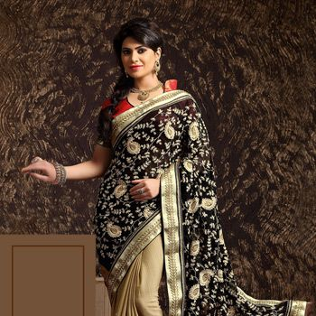 Black Faux Georgette and Faux Georgette Jacquard Saree with Blouse