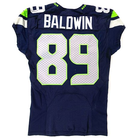 Doug Baldwin Game-Worn #89 Jersey – 1.19.14 vs. San Francisco 49ers      Wide Receiver Doug Baldwin had six receptions for 106 yards along with a 69-yard kickoff return that set up a Hauschka field goal. The Seahawks took the lead in the 4th quarter and never gave it up, winning with a score of 23-17 in front of a record setting crowd of 68,454.      Game-Worn Jersey: This jersey is game-worn and in the exact condition when the player took it off at the end of the game.       All items…
