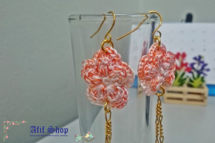 SUPER SALE /Flower Crochet Earrings /Variegated Yarn /Textile Accessories /Boho…