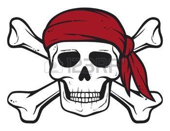 pirati: pirata cranio, bandana rossa e ossa pirati ossa simbolo, cranio e croce, teschio con le ossa incrociate Vettoriali