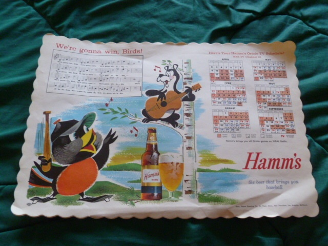 1961 BALTIMORE ORIOLES HAMM'S BEER BEAR SONG & BASEBALL SCHEDULE PLACEMAT $28