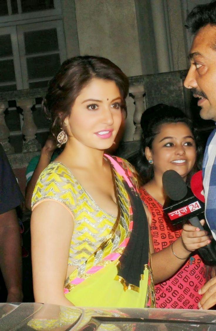 Anushka Sharma Hot Pictures In Yellow Saree  Hd