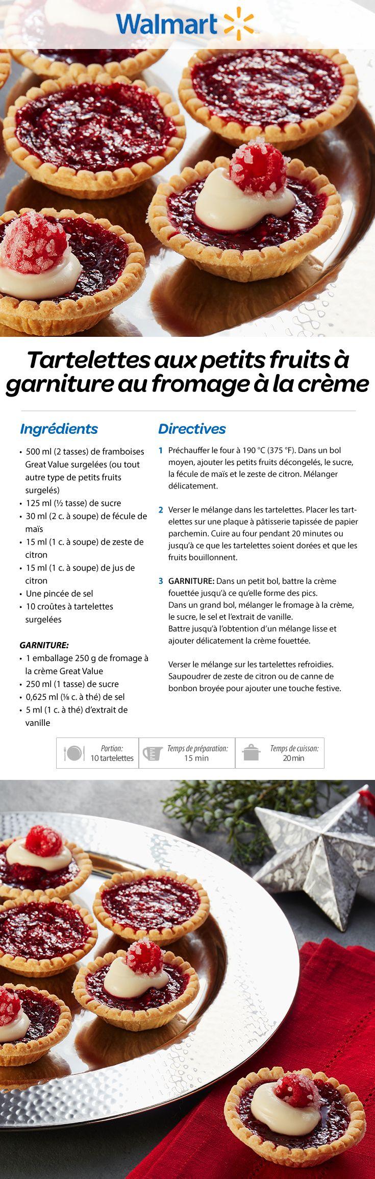 Tartelettes aux petits fruits à garniture au fromage à la crème