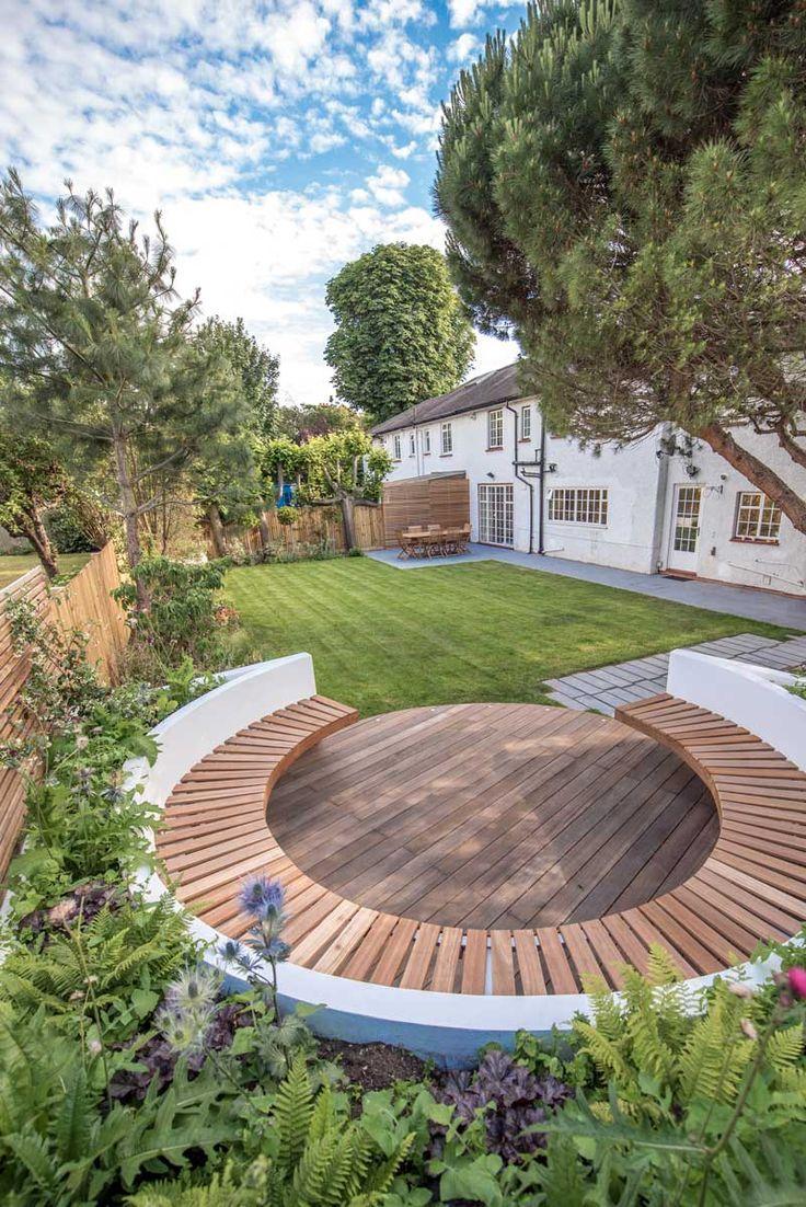 Runder Rastplatz in einem kleinen Garten. Dulwich – Kate Eyre Garden Design  #du… – Garten Gestaltung