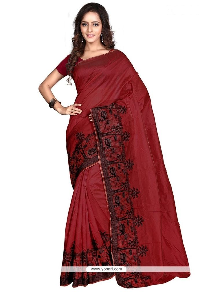 Charismatic Banarasi Silk Maroon Print Work Casual Saree Model: YOSAR9639