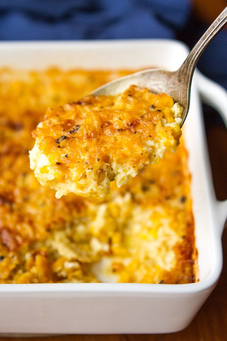 Corn Casserole Recipe -- this creamed corn casserole recipe is SO good you'll want to scrape the dish completely clean to get every last bit of caramelized goodness from the corners! It's on the menu for every family gathering I host... | via @unsophisticook on unsophisticook.com