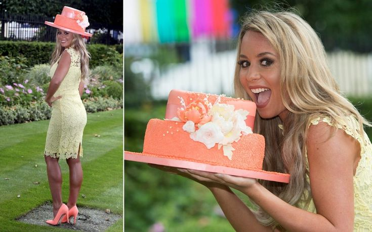 Coral brand ambassador Carly Baker models a hat made out of cake created by Royal cake baker Fiona Cairns