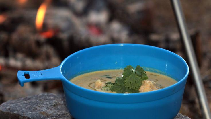 Suppe med gresskar, kokosmelk og elgboller