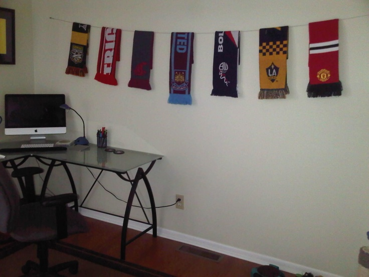 Great way to display soccer scarves!
