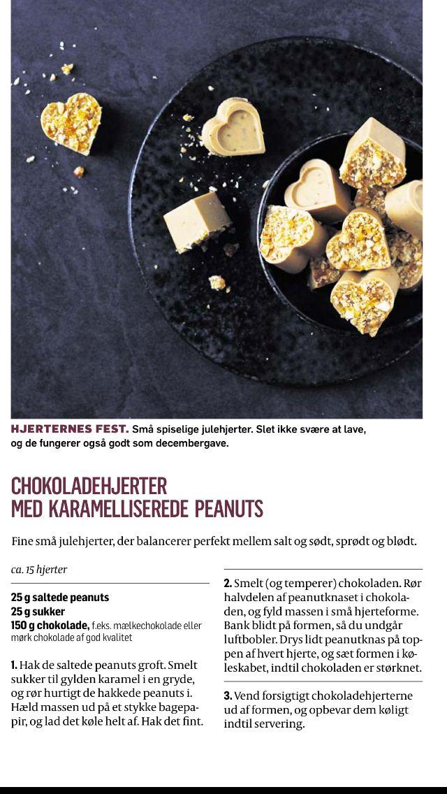 Chokoladehjerter med karameliserede peanuts