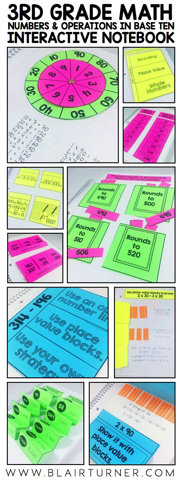 3rd grade math interactive notebook - numbers and operations in base ten bundle. Rounding to the nearest 10 and 100, adding and subtracting within 1000, and multiplying one-digit numbers by multiples of 10.
