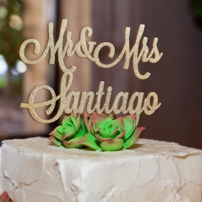 Customized gold Mr. & Mrs. cake topper   David De Dios Photography   villasiena.cc