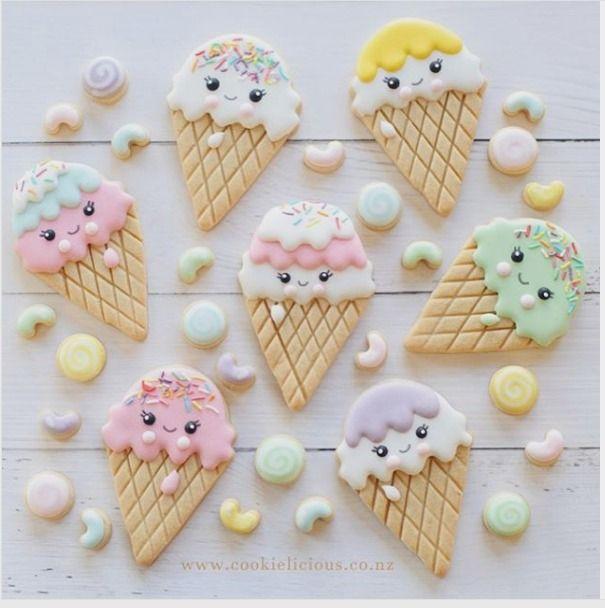"Natalia Campbell on Instagram: ""Kawaii ice cream cone with mini candies and Jellybeans hope you are not sick of ice creams #kawaiiicecream #icecreamcone #jellybeans #candyland #sweettreat #icecreamcookies #decoratedcookies #cookieart #edibleart #royalicingcookies #cookieliciousnz #sweets #customcookies #summertime #cookiephotography #cookiesofinstagram"""
