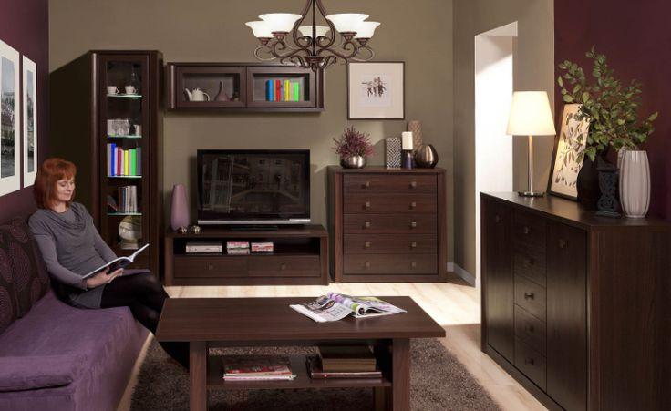 Pokój dzienny PREMIS, kasztan  #meble #dom #wnetrza #wystrój #mieszkanie