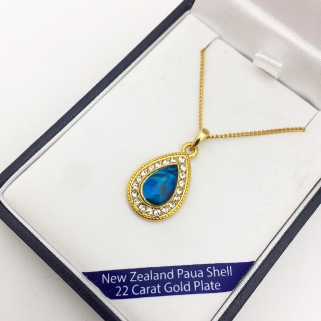 b9767c183ee66 Marine Opal - Paua-Shell / Tea drop pendant / 22 Carat Gold Plate ...
