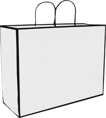 San Francisco Shopper - Large  16 x 6 x 12in White 100% Recycled material -build your brand while saving the planet!