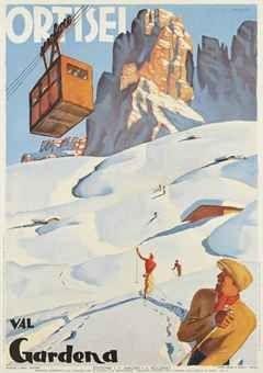 Vintage Ski poster of the beautiful Val Gardena / B.