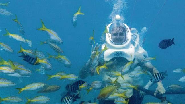 Aruba-Sea Trek, wandelen over de zebodem.