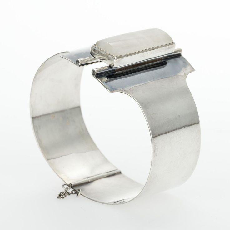 Mauno Honkanen for Tillander, Vintage silver bracelet with snow quartz, Finland, 1962