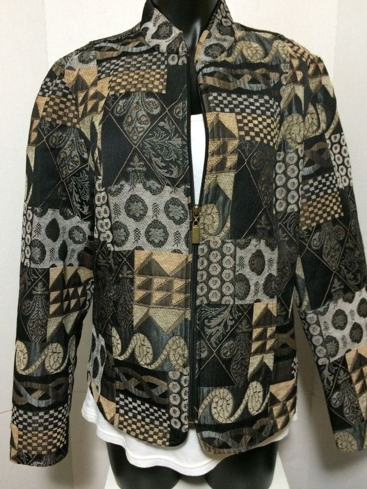 Dressbarn Women Patchwork Tapestry Black Silver Blazer Zip Up Poly Size L Jacket #Dressbarn #Blazer