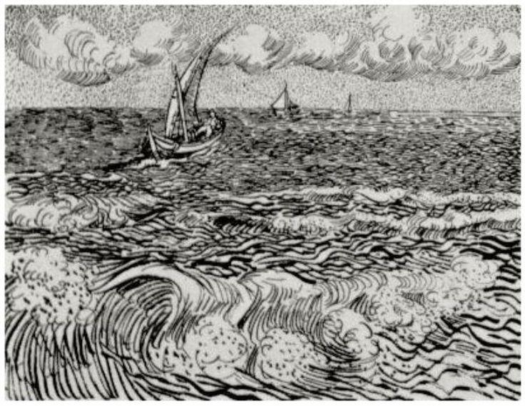 Vincent van Gogh Fishing Boat at Sea, A Drawing