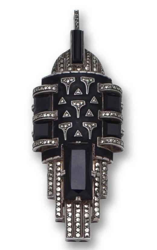 An onyx, marcasite and enamel pendant, Theodor Fahrner, circa 1929