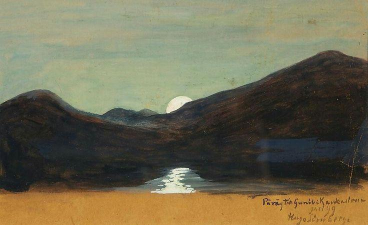 Moonlight - Hugo Simberg , 1899 Finnish, 1873-1917 Gouache, 16.50 x 26.00 cm