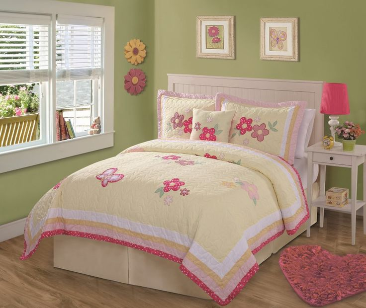bedroom interior yellow cotton quilts bedding set with floral ornaments in green kids bedroom twin bed comforters