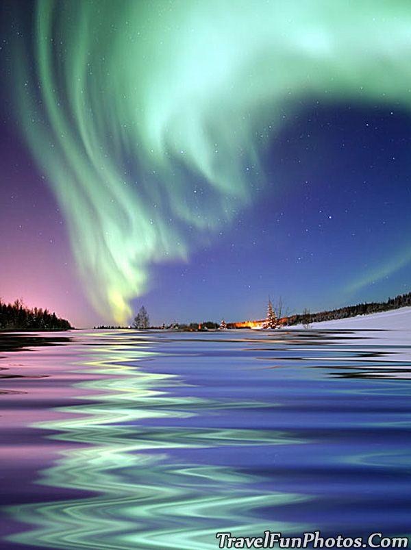 Aurora Borealis Seen From Bear Lake Alaska