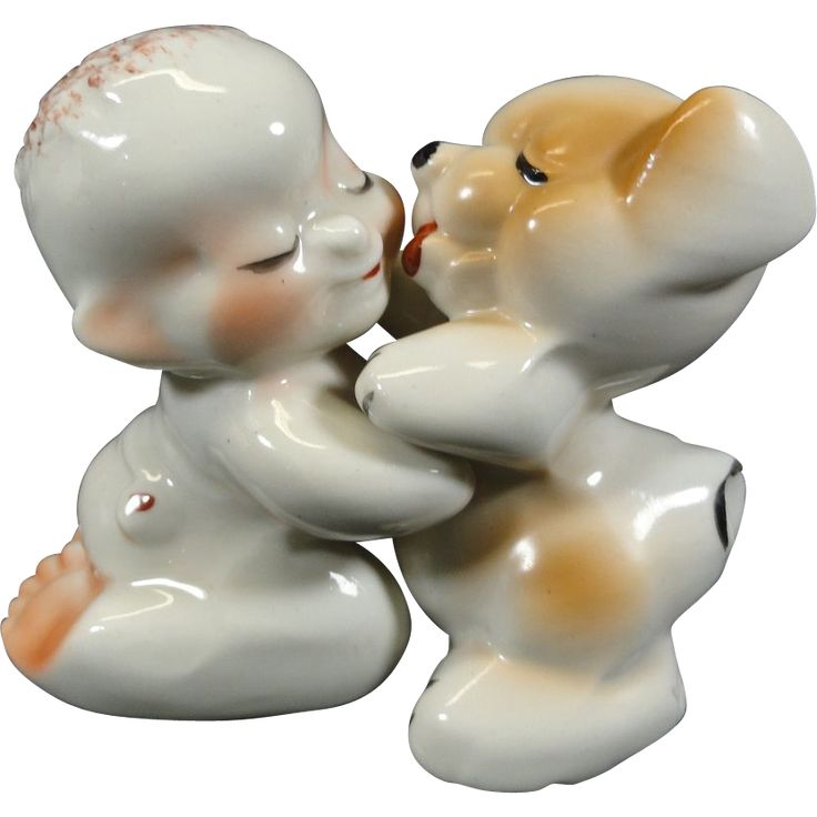 1940's Van Tellingen Boy Dog Hugger Salt Pepper Shakers from headsupvintage on Ruby Lane