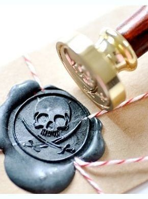 Pirate Wax Stamp - Where do I find stuff like this???? I would only write letters just so I could use this seal!!