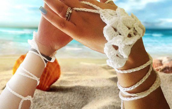 Bridal Barefoot Sandals&Bridal Gloves-White crochet by SimArtShop