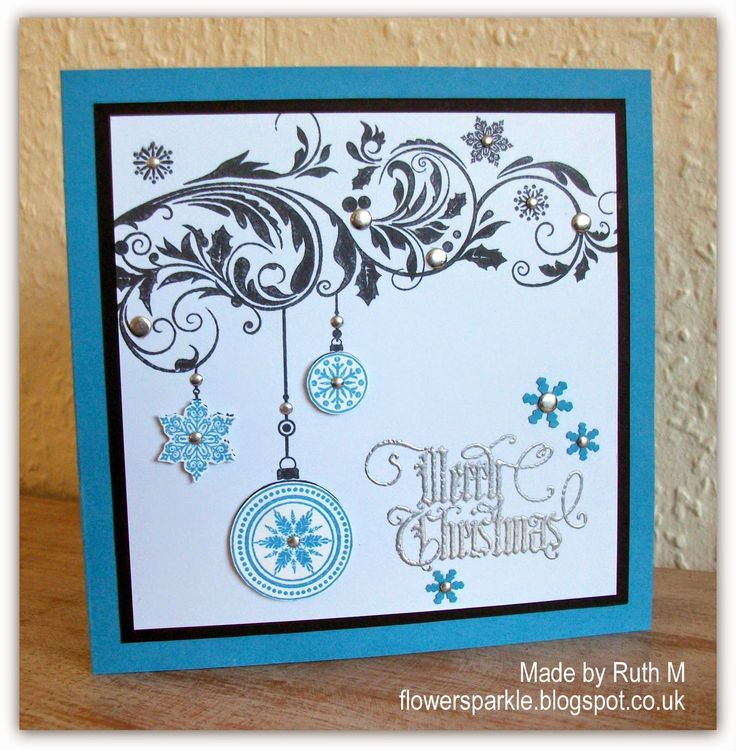 Flower Sparkle: Baubles Flourish Merry Christmas Card - 52 {C}CT Sept Colour Challenge