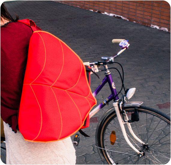 RedOrange Leaf Bike Messenger Bag Waterproof Padded by LeaflingoOo, $73.00