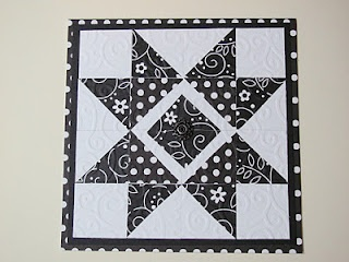 black and white patterned paper for this quilt block...quite striking!!