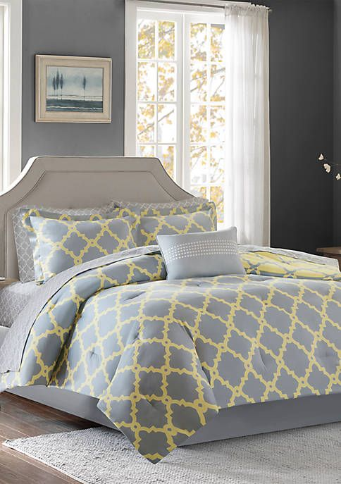 Madison Park Essentials Merritt Reversible Complete Comforter Set - Grey/Yellow