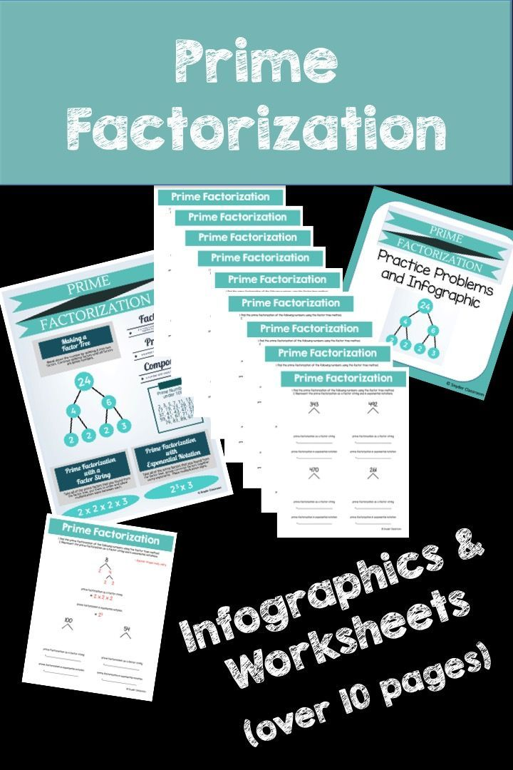 This activity is full of computation practice. The students create factor trees to find the prime factorization of a number. I have included my infographic on Prime Factorization. which can be blown up into a poster. Then the students represent the prime factorization as a factor string and in exponential notation to help show the various ways to represent the Prime Factorization.