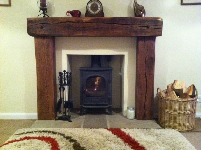 Solid Aged French Oak Wood Fireplace Rustic Fire Surround