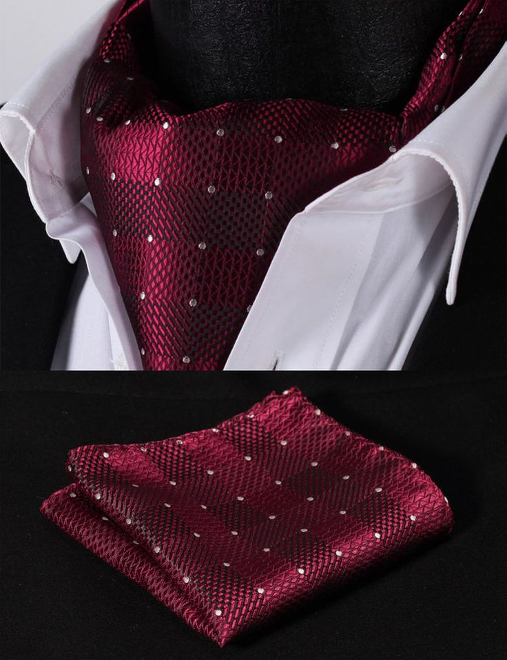 RC207R Red Check Silk Cravat Scarves Ascot Tie Hanky Handkerchief Set #SetSense #Ascot
