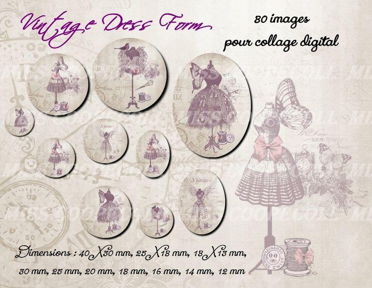 80 images pour collage digital cabochons bijoux 'vintage dress : Loisirs créatifs, scrapbooking par miss-coopecoll